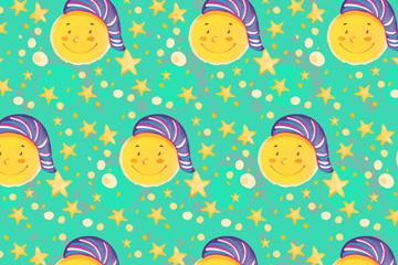 彩绘戴睡帽的月亮和星星无缝背景矢量图