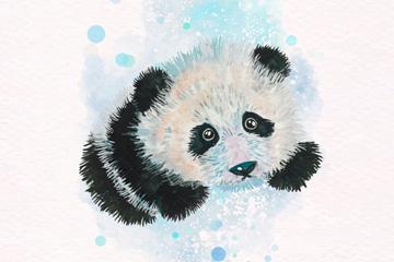 水彩绘可爱熊猫矢量素材