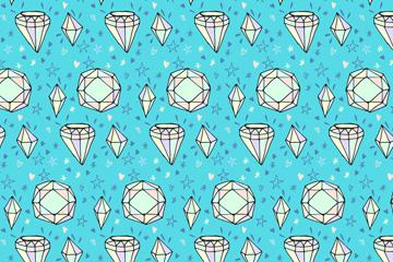 手绘白色钻石无缝背景矢量图