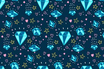 蓝色钻石无缝背景矢量素材