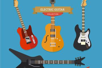 5款时尚电吉他设计矢量素材