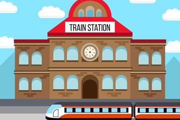创意火车站设计矢量素材