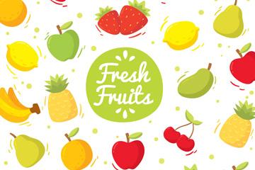 彩色新鲜水果无缝背景矢量图