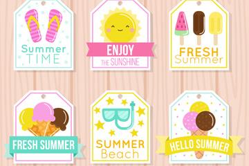 6款可爱夏季吊牌徽章矢量素材