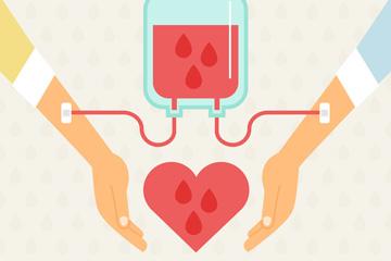 创意世界献血者日献血的手臂矢量图