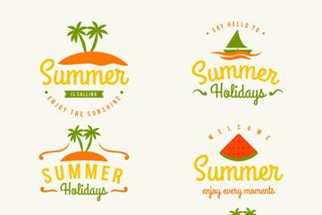 6款彩色夏季艺术字标签矢量图