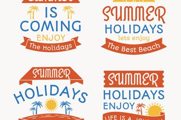 4款��意夏季假期��g字矢量素材