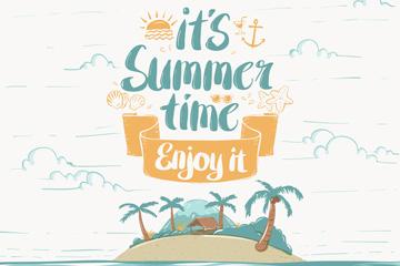 彩绘夏季度假岛屿海报矢量素材