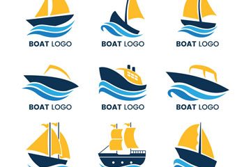 9款创意船标志矢量素材