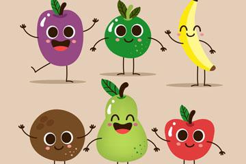 6款可爱笑脸水果矢量素材