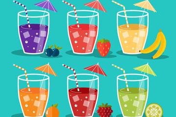 6款新鲜杯装果汁矢量素材