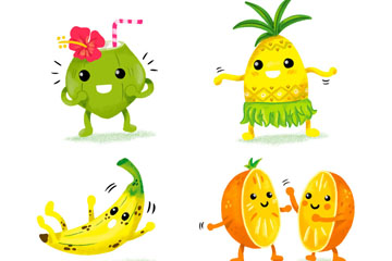 4款可爱表情水果矢量素材