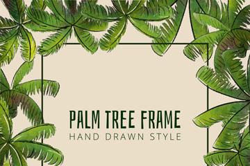 彩绘绿色棕榈树框架矢量素材