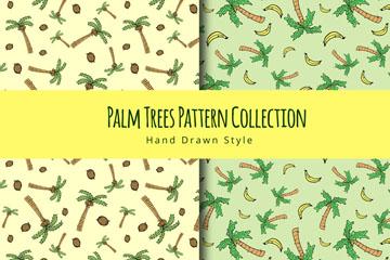 2款手绘棕榈树无缝背景矢量图
