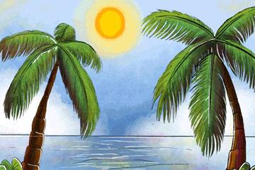 彩绘大海和棕榈树风景矢量图