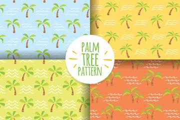 4款彩绘棕榈树无缝背景矢量图