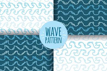 4款手绘海浪无缝背景矢量素材