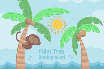 彩绘可爱爬棕榈树的猴子矢量图