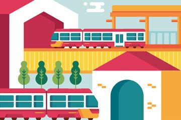 彩色火车站和火车矢量素材