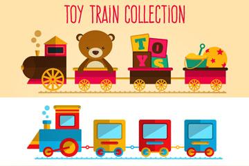 3款彩色玩具火车矢量素材