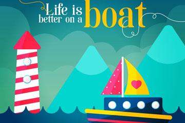 彩色灯塔和海上船舶隽语矢量素材