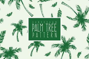 彩绘绿色棕榈树无缝背景矢量素材