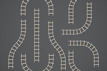 9款创意铁路轨道矢量素材