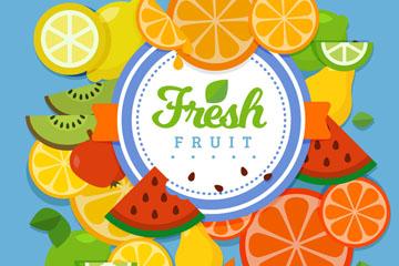 彩色新鲜水果装饰标签矢量素材