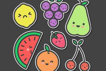 7款可爱水果贴纸矢量素材