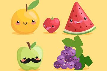 5款可爱表情水果设计矢量图
