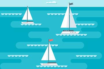 蓝色大海上的三艘帆船矢量图