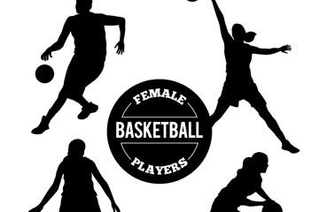 4款创意篮球女子剪影矢量素材