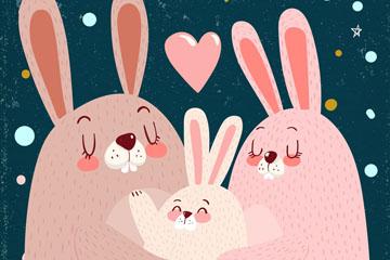 可爱兔子三口之家矢量素材