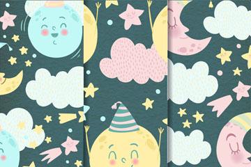 3款彩绘月亮和云朵无缝背景矢量