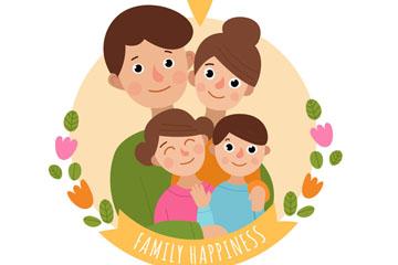 创意国际家庭日幸福四口之家矢量