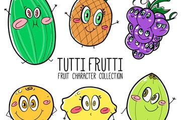 6款彩绘卡通表情水果矢量素材