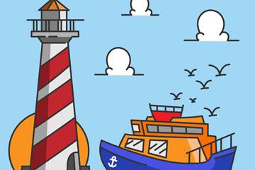 彩绘海上灯塔和船舶矢量素材