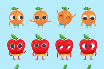 3组创意水果表情矢量素材