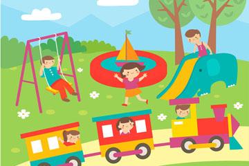 创意室外玩耍的儿童插画矢量图