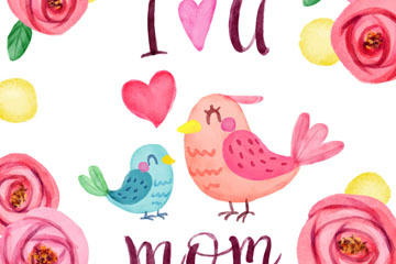 彩绘母亲节玫瑰花和鸟矢量素材