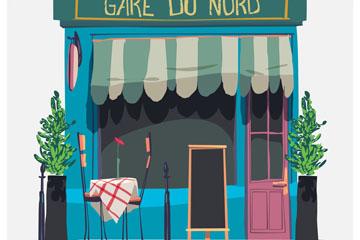 彩绘巴黎街边餐馆矢量素材