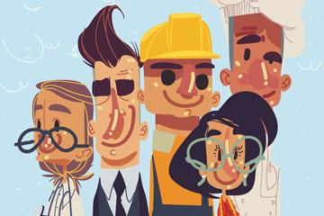 彩绘5个劳动节人物矢量图