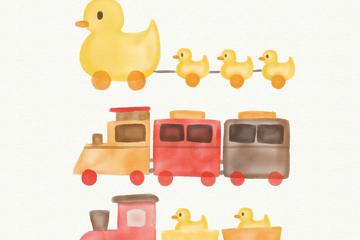 3款水彩绘玩具火车矢量素材