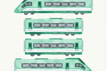 4款水彩绘火车车头和车厢矢量素材