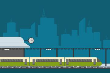 扁平化火车站设计矢量素材