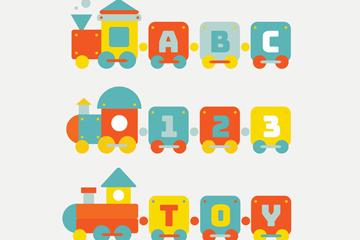 3款彩色字母玩具火车矢量素材