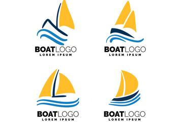 4款黄色帆船标志矢量素材