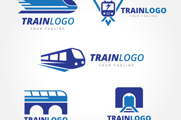 6款创意火车标志矢量素材