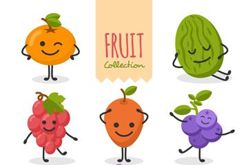 8款笑脸表情水果矢量素材