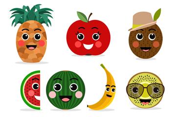7款可爱笑脸水果矢量素材